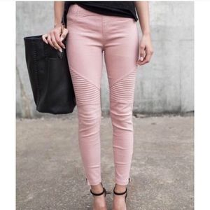Pants - DUSTY ROSE • Pink Stretchy Hot Biker Jeggings